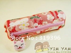 Free-shipping-Wholesale-Japanese-style-cute-lucky-cat-head-Pendant-Kimono-fabric-Printed-pencil-case-pen