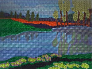 Donna Horn painting, canvas from Art Needlepoint, photo copyright Napa Needlepoint