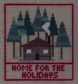 Christmas Cozy Cottage Free Design for needlepoint or cross stitch, copyright Napa Needlepoint