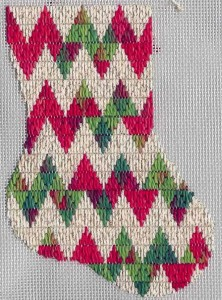 Holiday Rick-rack Mini-sock, copyright Napa Needlepoint