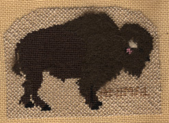 Petei buffalo needlepoint ornament