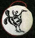 mimbres bird round needlepoint ornament