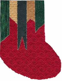 Christmas ribbon stocking, a Napa Needlepoint design