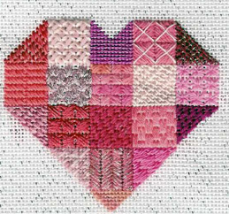 heart needlepoint stitch sampler