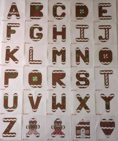 needlepoint gingerbread letters