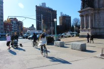 Chic biker in Grand Army Plaza