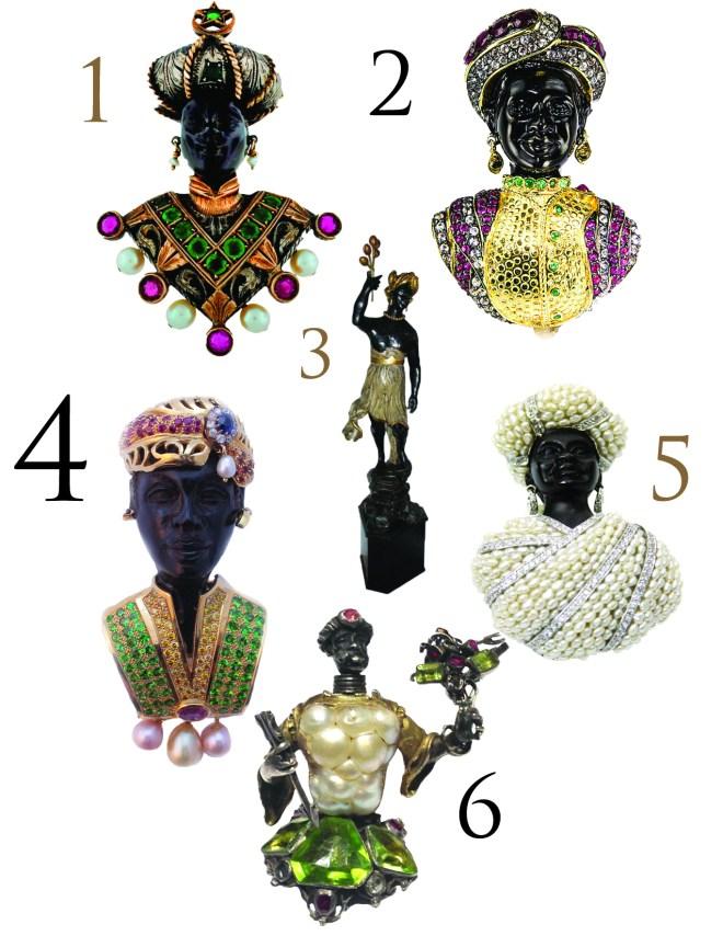 1. Giulio Nardi gem encrusted brooch, $7,950. 2. Jarin K ruby and emerald brooch, $1,850. 3. 19th century Venetian statue, $6,500. 4. Italian vintage blackamoor pendant, $9,800. 5. Jarin K pearl and silver brooch. 6. 19th century antique Venetian blister pearl brooch, $9,800.