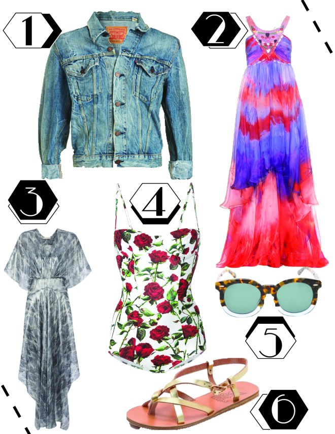 1. Vintage Levi's denim jacket, $197.50. 2. Emilio Pucci dress, $4,680. 3. Maje dress, $486.50. 4. Dolce & Gabbana swimsuit, $745. 5. Karen Walker sunglasses, $300. 6. Ancient Greek sandals, $200.