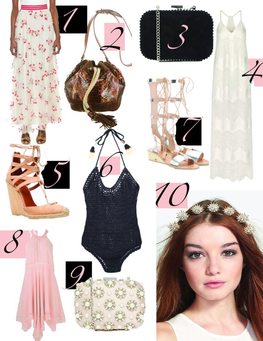 1. Alice + Olivia Wildflower skirt, $417.20. 2. Lanvin Python Gabby bag, $625. 3. Miss KG Oval Box clutch, $43.50. 4. Alice + Olivia Paneled Lace dress, $440. 5. Aquazurra espadrilles, $675. 6. She Made Me one piece, $102. 7. Ancient Greek sandals, $430. 8. Free People dress, $98. 9. Aldo Blush Box clutch, $63. 10. Untamed Petals headpiece, $95.