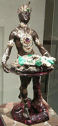 """Moor with Emerald Cluster"" by Balthasar Permoser at the Grünes Gewölbe"