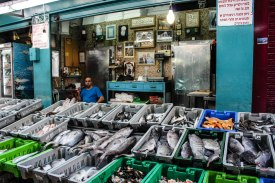 fish stand in the open bazaar