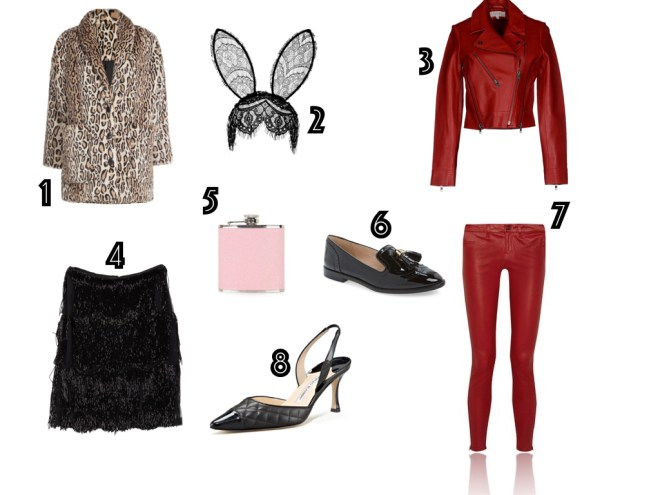 one. faux fur coat, THE KOOPLES | two. lace veil headband, TOPSHOP | three. moto jacket, VANESSA BRUNO ATHÉ | four. beaded fringe skirt, NAEEM KHAN | five. glitter flash, TOPSHOP | six. patent loafers, LOUISE ET CIE | seven. leather trousers, J. BRAND | eight. slingbacks, MANOLO BLAHNIK