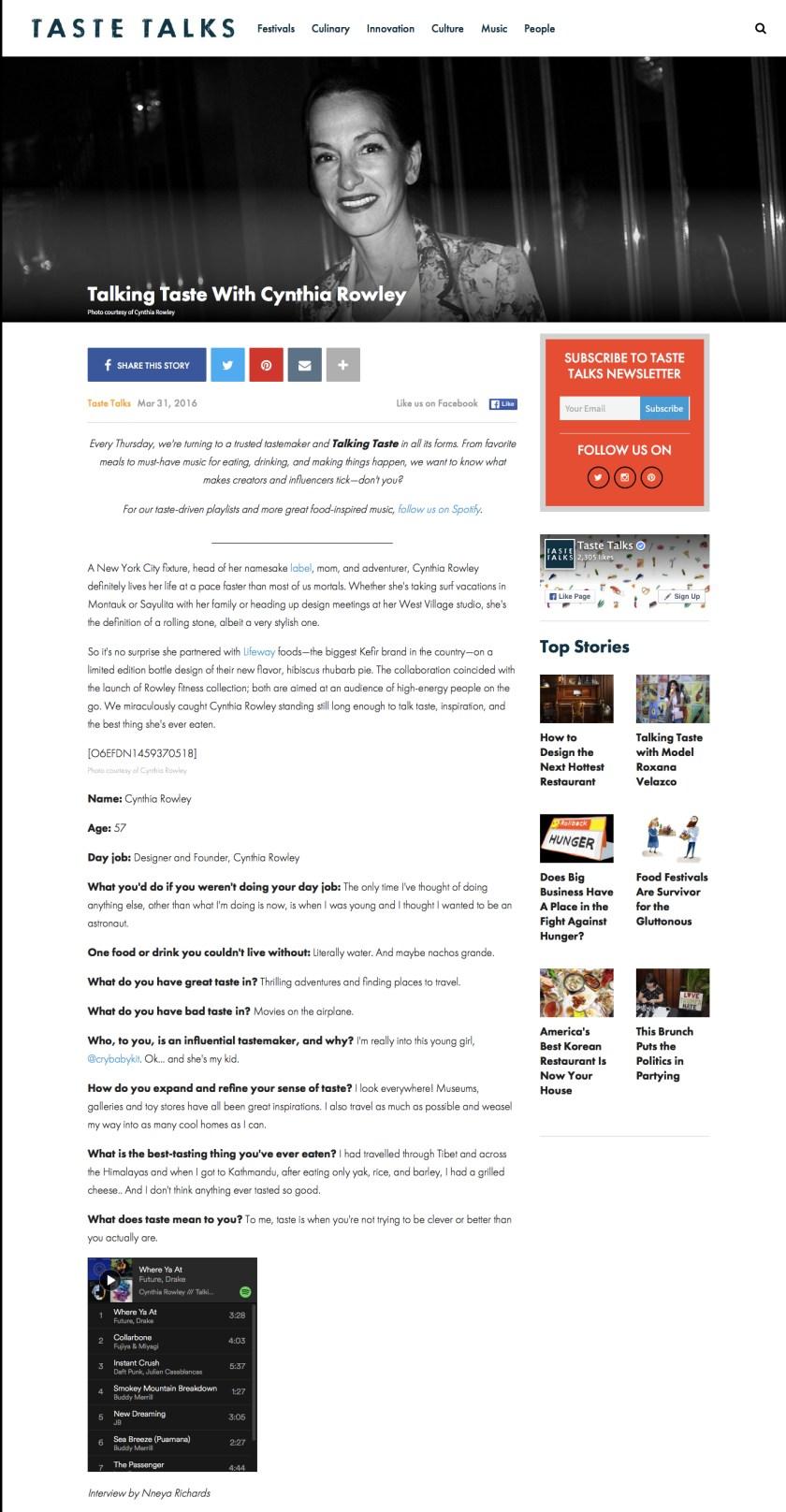 TasteTalks.com - 3.31.16 - Talking Taste w: Cynthia Rowley