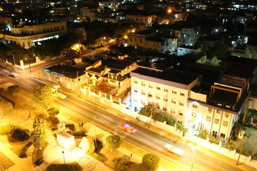 26 Looking down at night on Avenida Presidente in Vedado by Nneya Richards
