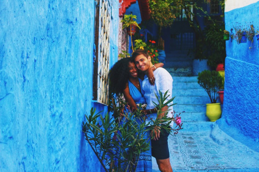 Us in alley in Chefchaouen