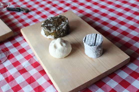 The cylindrical shaped cheese is a lactic cheese with no added enzymes. So creamy and delicate! The grape leaves not only add a flavour but keep moisture in! Poof dough looking cheese is a strained lactic cheese outer rind aged for a month.