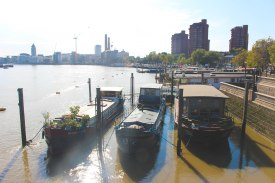 In Chelsea overlooking the boathouses and Battersea