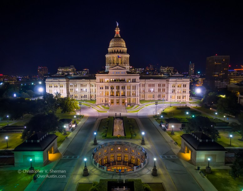 Texas Capitol and open air rotunda at night - Shot with special permission.