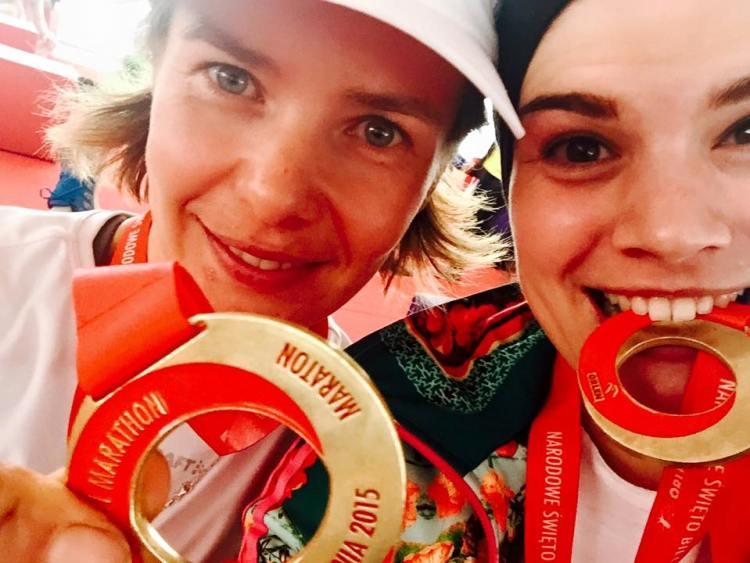 Z Asią Świderską podczas Orlen Warsaw Marathon w 2015 roku. Fot. Archiwum Joanny Świderskiej