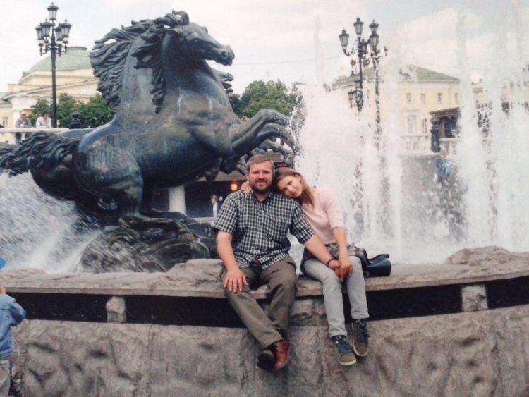 Z mężem Andrzejem w Moskwie. Fot. Archiwum Patrycji Bereznowskiej