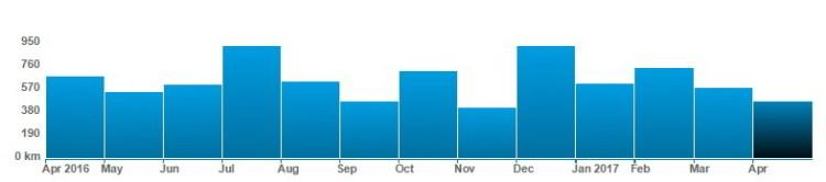Kilometry przebiegnięte w miesiącu. Źródło: strava.com