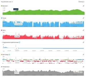 Przykładowe dane z biegu w panelu Garmin Connect