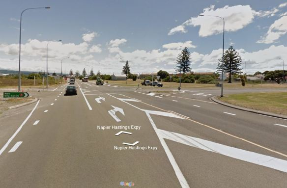 Black-spot: The intersection of Meeanee Quay and State Highway 2B - Looks innocent enough, eh?