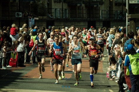 April 2013 London Marathon 2013, Westferry Rd/Eastferry Rd, Isle of Dogs, London