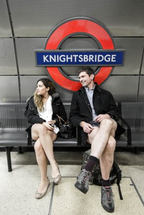 January 2014 No Trousers Tube Ride 2014, Piccadilly Line, London, UK