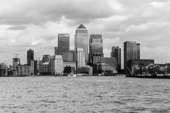 February 2015, Canary Wharf from Thames River, London, UK