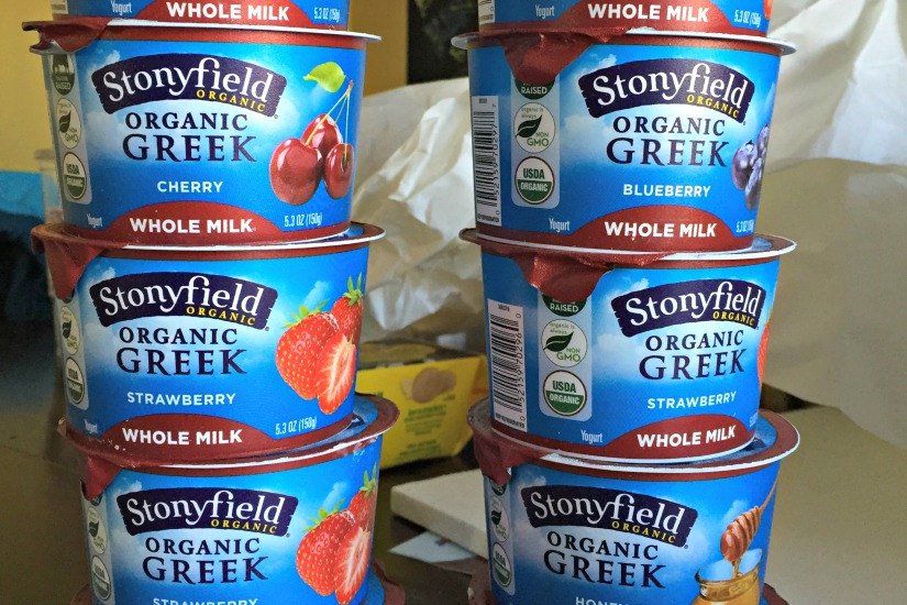 tower of stonyfield yogurt