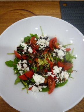 Goats cheese salad with balsamic dressing.