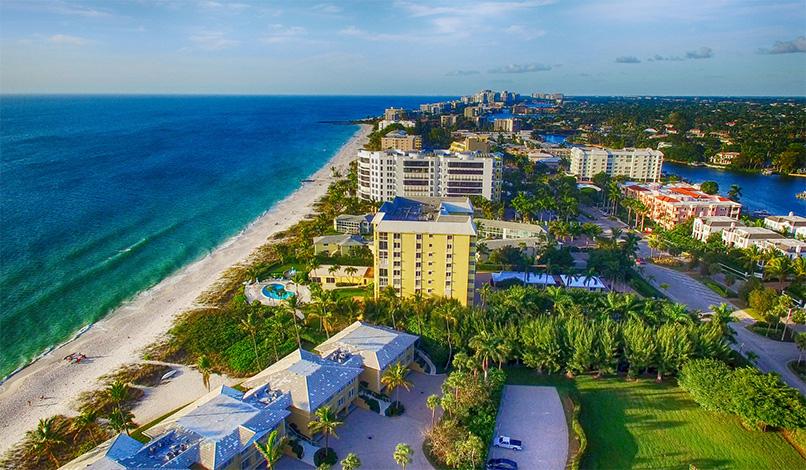 Naples beach aerial view