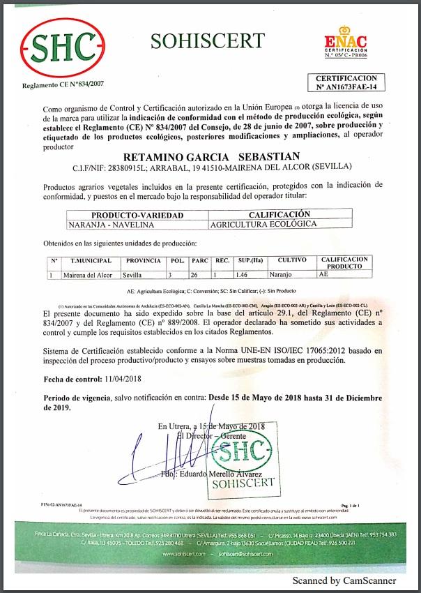 Certificado de naranjas ecológica 2019