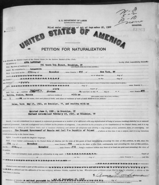 Petition for Naturalization (1922)