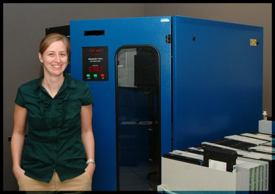 Courtney Egan in the Motion Picture Preservation Lab.