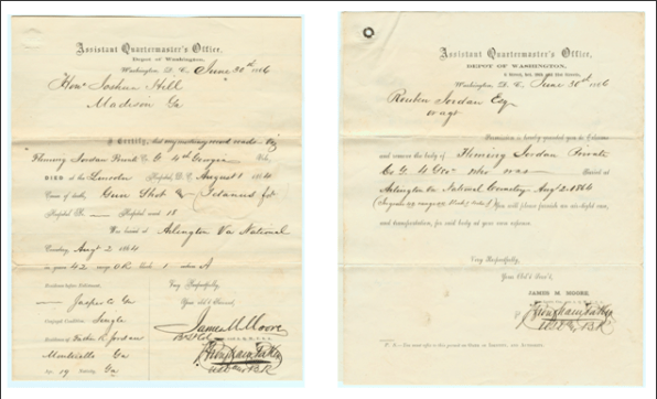 Preserved family documents detailing Fleming's death and burial – June 30, 1866