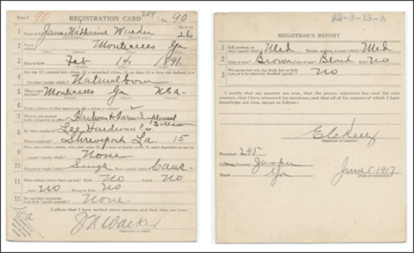 RG 163 - Draft Card for James Nathaniel Walker – Monticello, GA