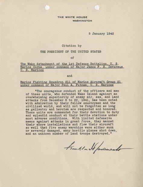 Presidential Unit Citation from President Franklin D. Roosevelt, January 5, 1942