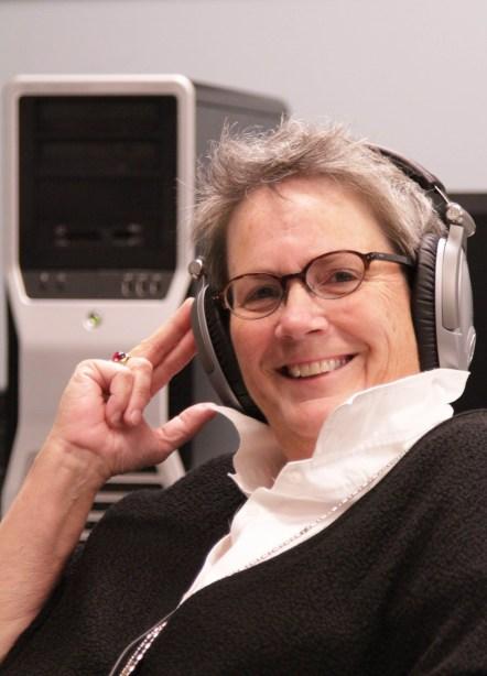 Jodie Steck with headphones
