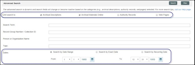 Advanced search: search limit and dates
