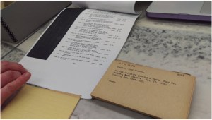 A close-up of some of the research aids we looked at, including film shot-lists and accession cards, which helped give us a better understanding of the breadth of subject material covered in NARA's WWI films.