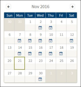 Screenshot of November calendar