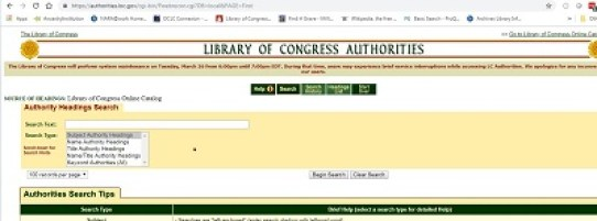 Library of Congress Authorities Page