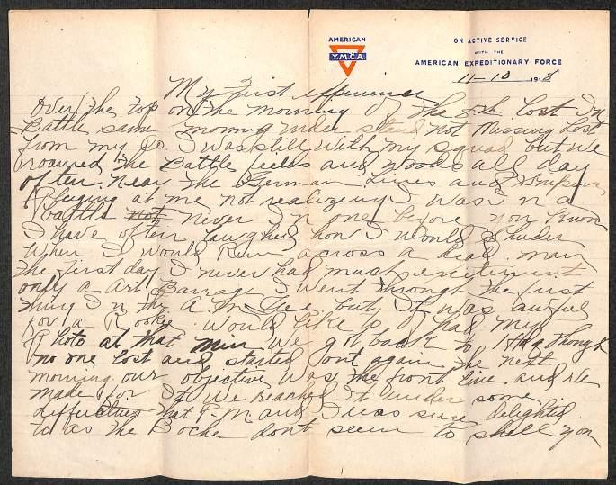 Handwritten World War I Division Report