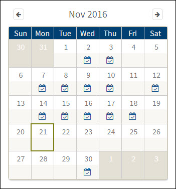 Screenshot of November calendar