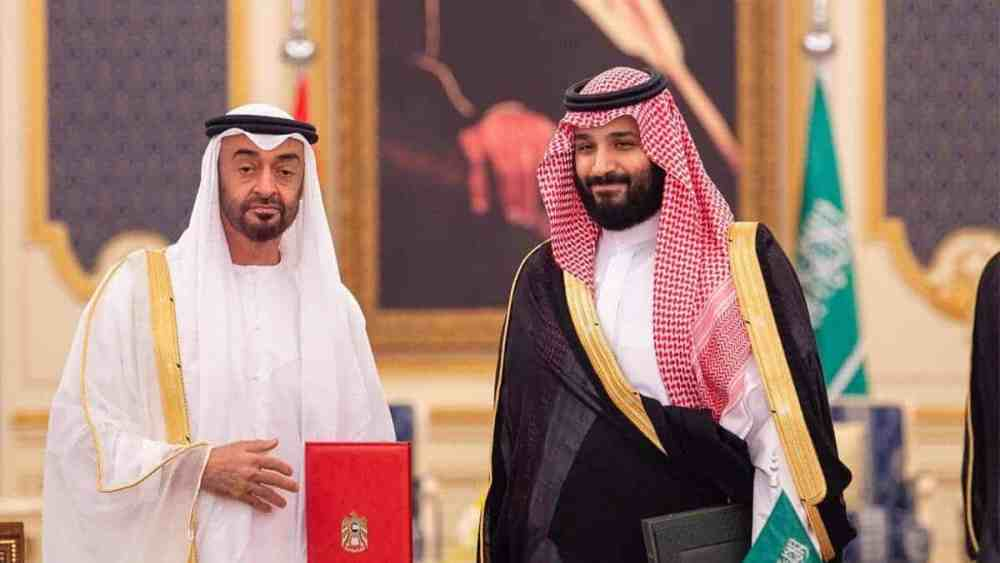 Abu Dhabi's Crown Prince Sheikh Mohammed bin Zayed poses for a photo with Saudi Crown Prince Mohammed bin Salman during the Saudi-UAE Summit in Jeddah. Reuters