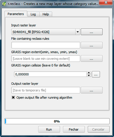 Opções da ferramenta reclass