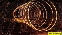 spiraal van lichtflitsen, cover foto voor narcisme.blog