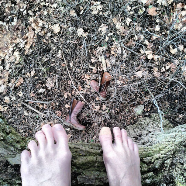 a photo of laurel green's bare feet standing on a tree branch, her boots are on the ground below
